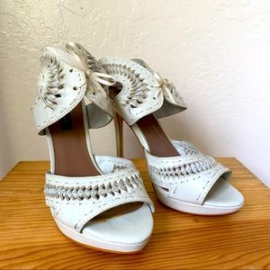 Zara Woven Lace-Up Ankle Strap Heels